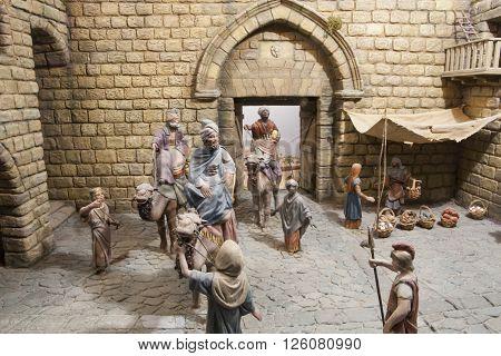 Badajoz Spain - January 4 2013: Three Magic Kings have come to Bethlehem. Diorama built by Local Association of Friends of Cribs Badajoz 2013