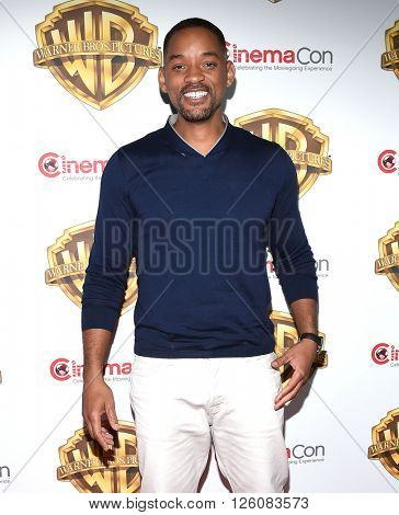 LOS ANGELES - APR 12:  Will Smith arrives to the CinemaCon 2016: Warner Bros.
