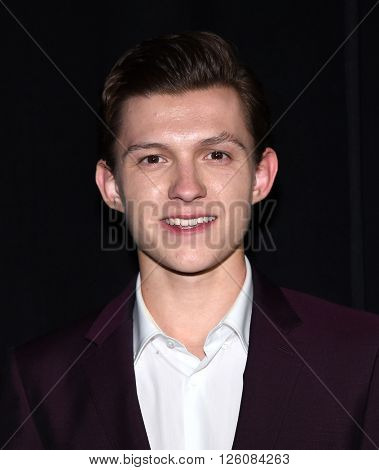 LOS ANGELES - APR 12: Tom Holland arrives to the Cinema Con 2016: Sony Pictures Presentation on April 12, 2016 in Las Vegas, NV.