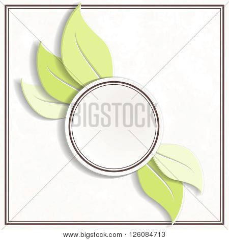 Off-white and green round environmental emblem. Graphics are grouped and in several layers for easy editing. The file can be scaled to any size.