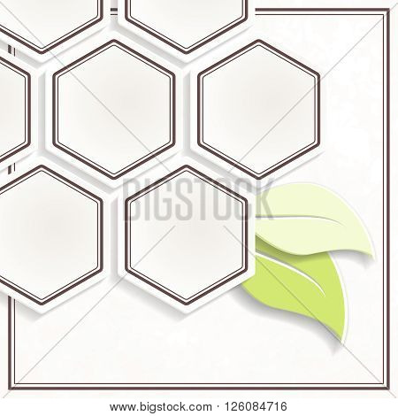 Off-white and green honeycomb shaped environmental emblem. Graphics are grouped and in several layers for easy editing. The file can be scaled to any size.
