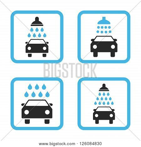 Carwash vector bicolor icon. Image style is a flat icon symbol inside a square rounded frame, blue and gray colors, white background.