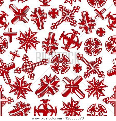 Ancient religion crosses seamless background with red pattern of christian crucifixes of catholic, orthodox, lutheran and anglican churches. Religion, church, culture, art theme design