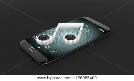 3D rendering of smartphone with musical note with speakers, isolated on black background.