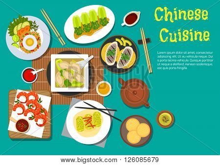 Traditional chinese food set out on a table flat icon with top view of egg fried rice, grilled shrimps skewers, dumplings, served with bok choy, spring rolls, sesame bread, blanched bok choy with vinegar, grilled oysters, variety of sauces and green tea
