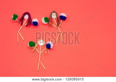 Cheerleader buttonhead stick figure girls green and blue pompoms