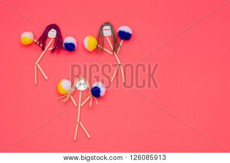 Cheerleader buttonhead stick figure girls yellow and blue pompoms
