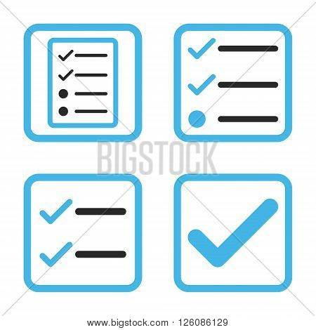 Valid vector bicolor icon. Image style is a flat icon symbol inside a square rounded frame, blue and gray colors, white background.