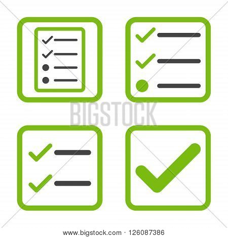 Valid vector bicolor icon. Image style is a flat icon symbol inside a square rounded frame, eco green and gray colors, white background.