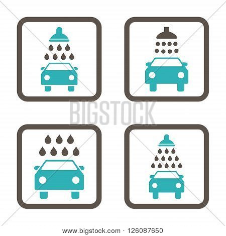Carwash vector bicolor icon. Image style is a flat icon symbol inside a square rounded frame, grey and cyan colors, white background.
