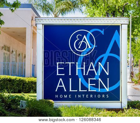 PASADENA CA/USA - APRIL 16 2016: Ethan Allen Home Interiors exterior and sign. Ethan Allen Global Inc. is an American luxury furniture chain.