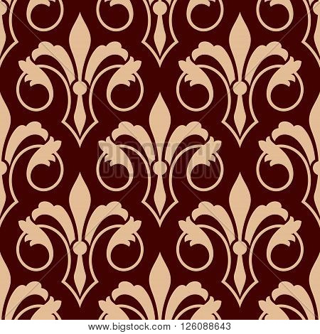Medieval stylized floral compositions of royal french fleur-de-lis beige seamless pattern on maroon background. Monarchy heraldry, coat of arms backdrop or history theme design usage