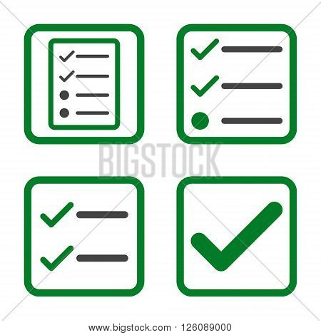 Valid vector bicolor icon. Image style is a flat icon symbol inside a square rounded frame, green and gray colors, white background.
