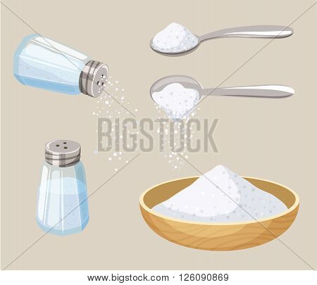 Salt set: salt shaker, spoon and bowl of salt. Do pour salt from spoon and shaker. Baking and cooking ingredient. Cartoon vector salt. Food seasoning. Kitchen utensils: spoon, salt shaker, bowl
