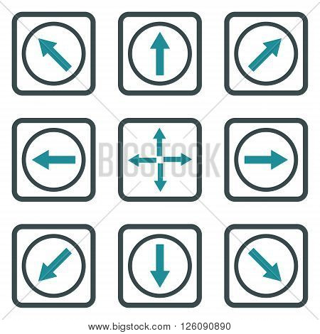 Direction Arrows vector bicolor icon. Image style is a flat icon symbol inside a square rounded frame, soft blue colors, white background.
