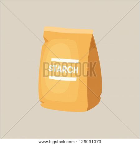 Starch packaging. Package of starch. Baking and cooking Ingredients. Healthy organic food. Starch packaging cartoon vector. Dough cooking. Organic product. Starch pack illustration.