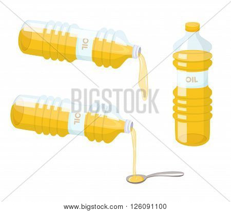 Cooking oil set. Do pour vegetable oil from bottle to spoon. Baking and cooking ingredient. Cartoon vector cooking oil. Food fat. Cooking oil packaging.