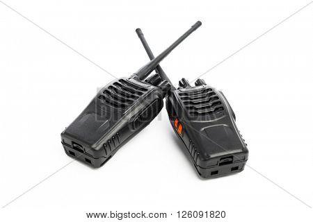 portable radios Walkie-talkie isolated on white
