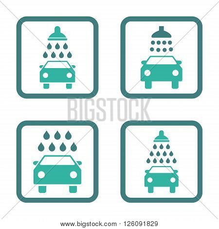Carwash vector bicolor icon. Image style is a flat icon symbol inside a square rounded frame, cobalt and cyan colors, white background.
