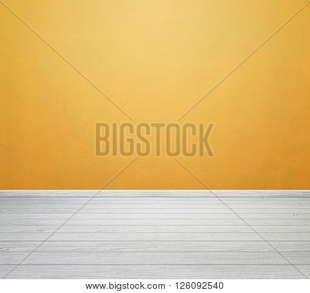 Room Interior With Yellow Concrete Wall And White Wood Floor