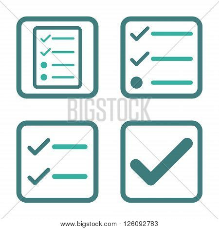 Valid vector bicolor icon. Image style is a flat icon symbol inside a square rounded frame, cobalt and cyan colors, white background.
