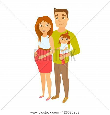 Pregnant family couple with baby. Pregnant woman, men and child. Happy family expecting baby. Pregnant wife and her husband. Cute family vector illustration. Young couple with daughter. Pregnant mom
