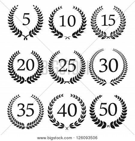 Congratulatory laurel wreaths symbols for anniversary or jubilee greeting card, invitation design usage with numbers from 5 to 50 in the center