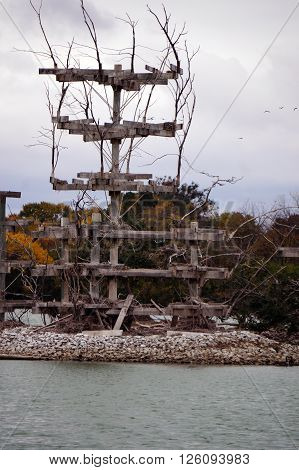 The Lake Renwick Heron Rookery Nature Preserve, in Plainfield, Illinois, provides nesting platforms for herons on an island in Lake Renwick,