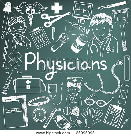 Physician doctor and other medic professions doodle cartoon icons of people medicines tools sign and symbol in blackboard background for health presentation or subject title create by vector