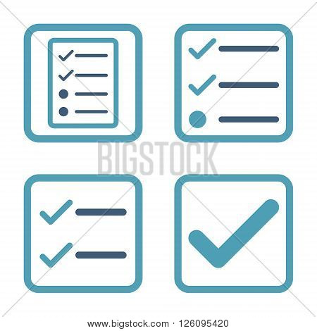 Valid vector bicolor icon. Image style is a flat icon symbol inside a square rounded frame, cyan and blue colors, white background.