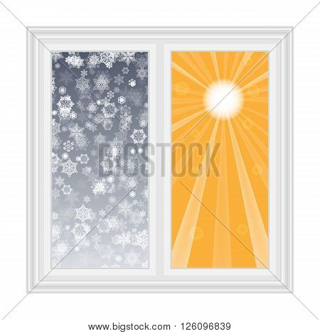 Save heat postcard open window with snowflakes and sun contrast background
