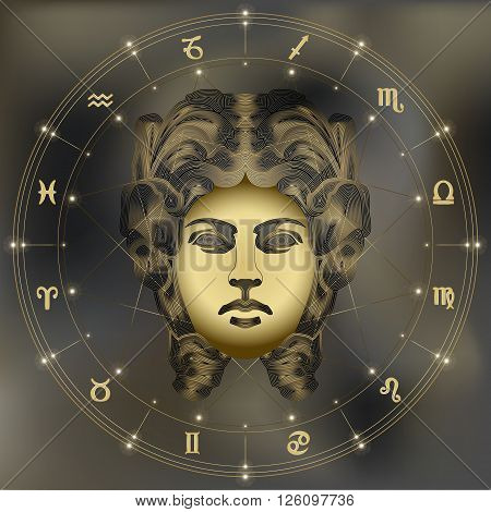 Golden woman zodiac Virgo sign for astrological predestination and horoscope