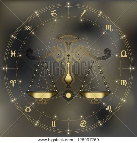 Golden scales zodiac Libra sign for astrological predestination and horoscope