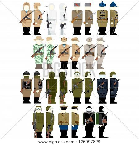 Uniforms and insignia of the Russian special services soldiers. The illustration on a white background.