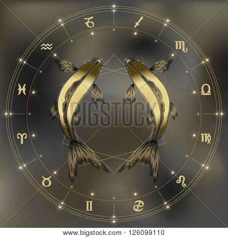Golden fishes zodiac Pisces sign for astrological predestination and horoscope