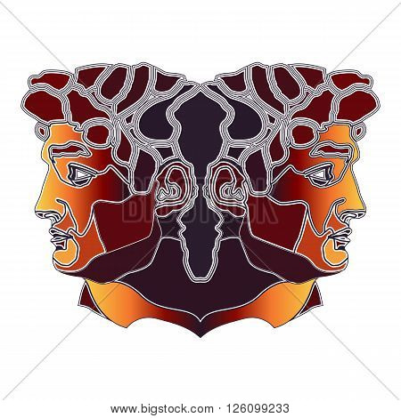 Bright colorful twins zodiac Gemini sign for astrological predestination and horoscope