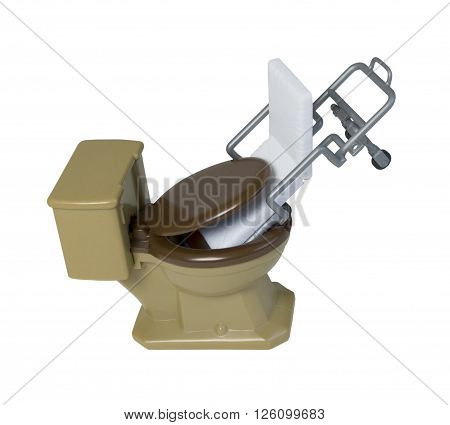 Patient Gurney shoved down into a Toilet to demonstrate medical and health issues - path included
