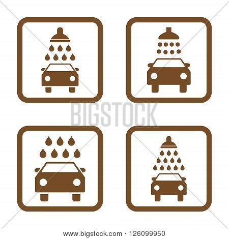 Carwash vector icon. Image style is a flat icon symbol inside a square rounded frame, brown color, white background.