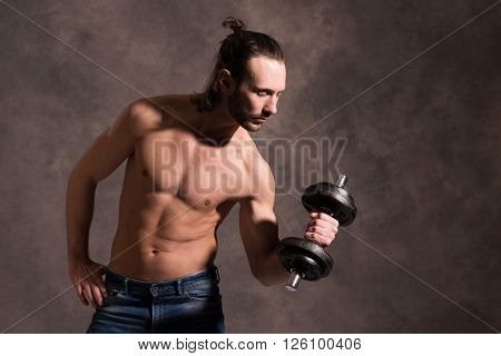 young white man exercised body train with bar-bell