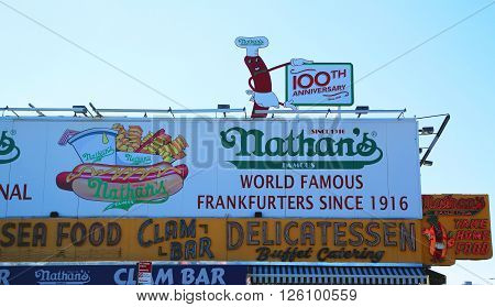 BROOKLYN, NEW YORK - APRIL 10, 2016: The Nathan's original restaurant at Coney Island, New York. The original Nathan's still exists on the same site that it did in 1916.