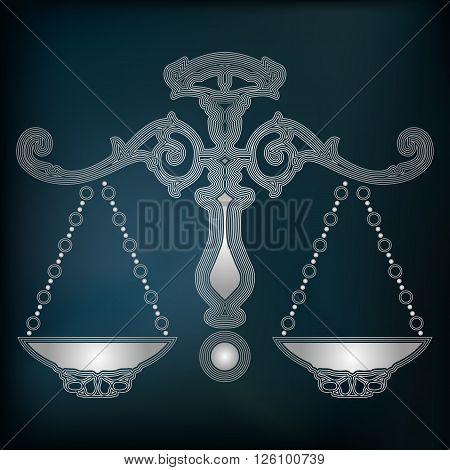 Silver scales zodiac Libra sign for astrological predestination and horoscope