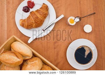Breakfas On Wooden Table