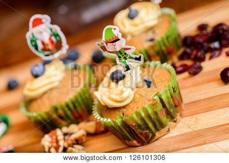 Vegan Christmas decorated Cupcake dessert on a table
