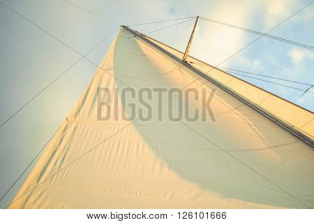 white sail at sunset on a background of blue sky, filter