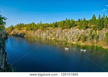 Marble Canyon in Ruskeala Karelia at Dawn