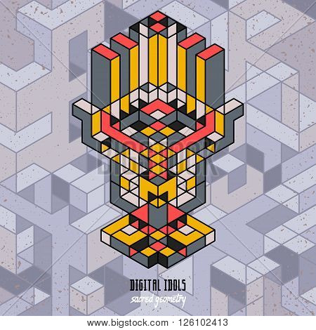 stylish isometric idol as a stylized design element
