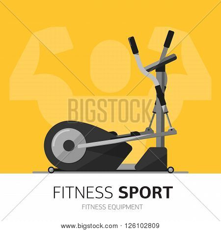 Ellipsoid vector icon. Gym equipment concept. Fitness life. Sport lifestyle. Healthy. Flat design.