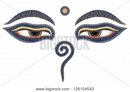 Buddha eyes Nepal symbol of wisdom and enlightenment