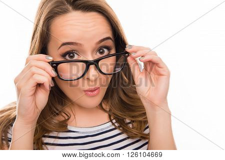 Close Up Portrait Of Surprised Woman In Glasses And Striped T-shirt