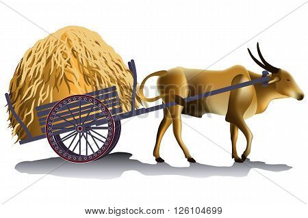 Hayrick in the buffalo cart vector illustration harvesting time in the countryside